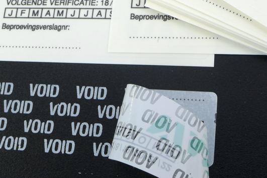 stickers teks void lijmlaag